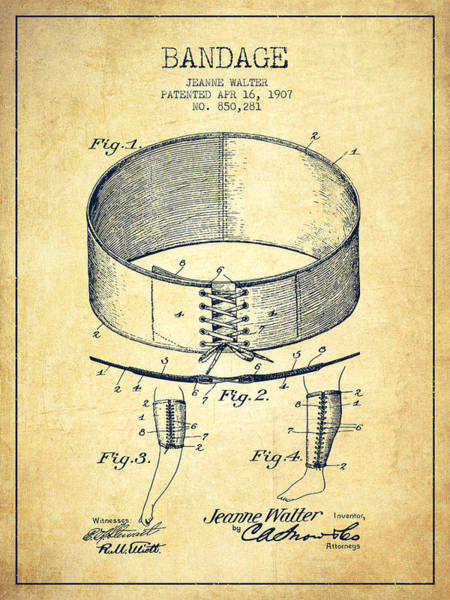 Bandage Wall Art - Digital Art - Bandage Patent From 1907 - Vintage by Aged Pixel