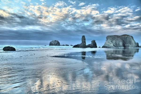 Photograph - Bandon Sea Stack Reflections by Adam Jewell