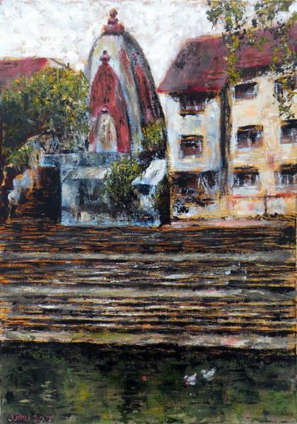Mumbai Painting - Banganga Tank Mumbai by Uma Krishnamoorthy