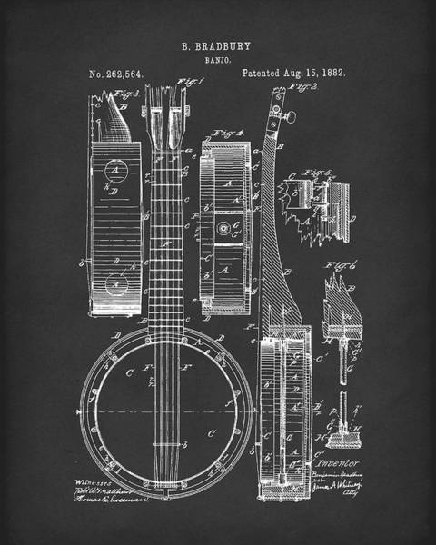 Drawing - Banjo 1882 Patent Art Black by Prior Art Design