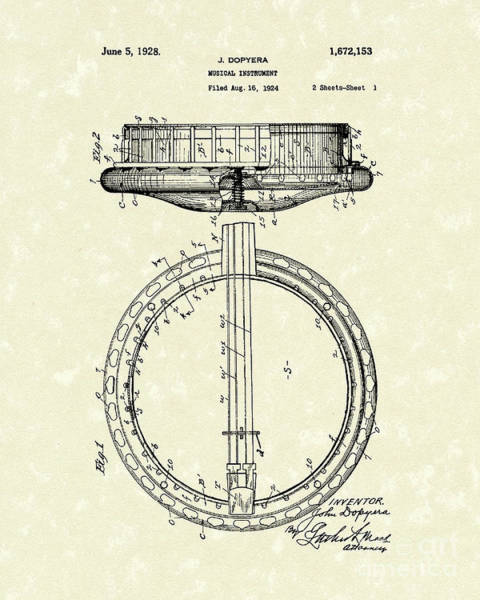 Drawing - Banjo 1928 Patent Art by Prior Art Design