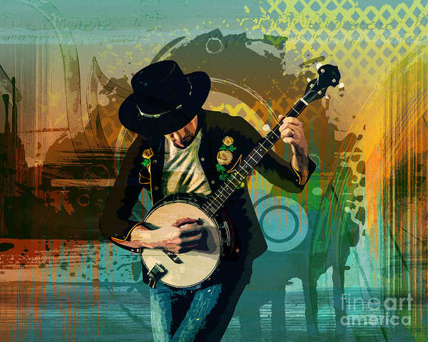 Play Music Digital Art - Banjo Man by Peter Awax