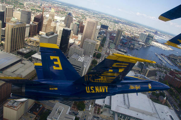 Blue Angels Photograph - Banking Above Baltimore by Ricky Barnard