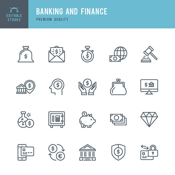 Banking And Finance  - Thin Line Icon Set Art Print by Fonikum