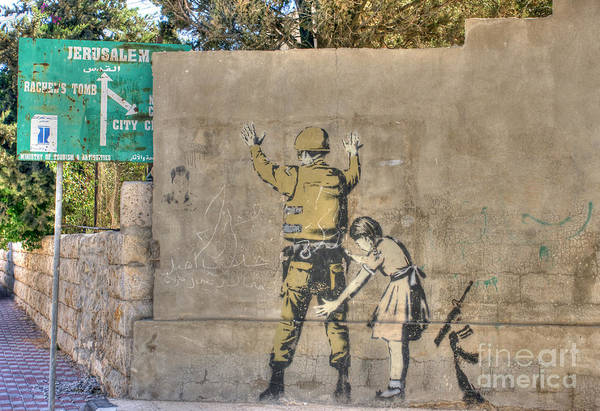 Photograph - Banksy In Bethlehem 2 by David Birchall