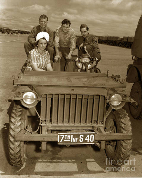 Photograph - Bantam Jeep 17th Infantry Fort Ord Army Base 1950 by California Views Archives Mr Pat Hathaway Archives