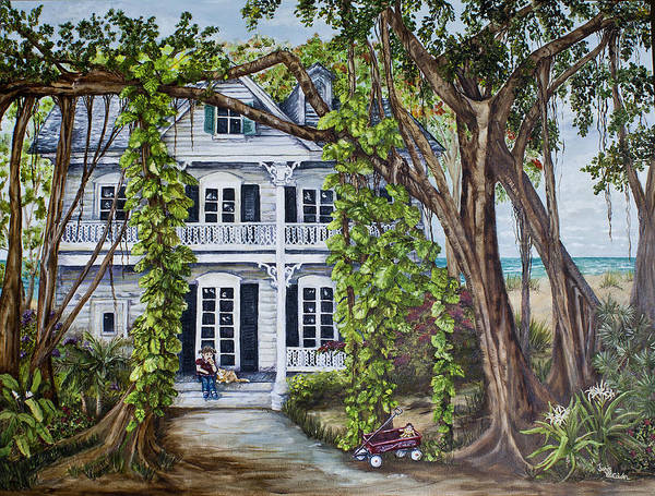 Banyan Beach House Art Print