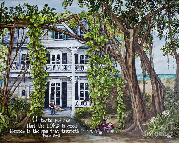 Painting - Banyan Beach House Psalm 34 by Janis Lee Colon