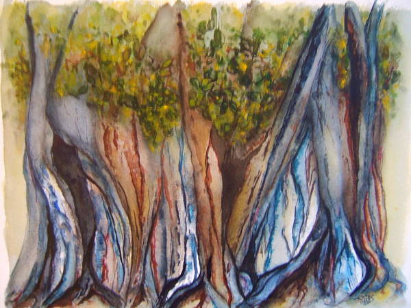 Wall Art - Painting - Banyan Trees by Elaine Duras