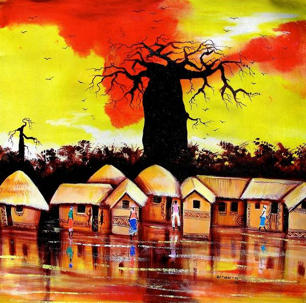 Painting - Baobab Village by Appiah Ntiaw