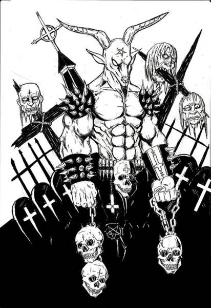 Demonic Drawing - Baphomet Graveyard Bw by Alaric Barca