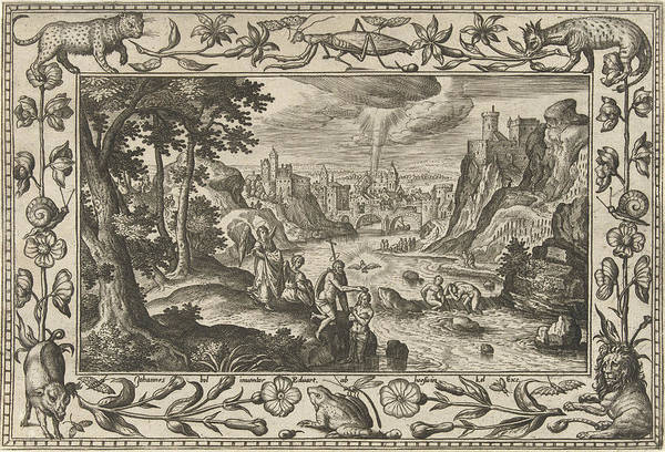 Holy Ghost Drawing - Baptism Of Christ, Adriaen Collaert, Eduwart Van Hoeswinckel by Adriaen Collaert And Eduwart Van Hoeswinckel