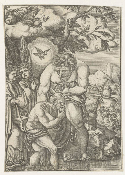Holy Ghost Drawing - Baptism Of Christ In The Jordan, Monogrammist Ac 16e Eeuw by Litz Collection