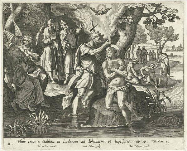 Holy Ghost Drawing - Baptism Of Christ, Jan Collaert II, Adriaen Collaert by Jan Collaert (ii) And Adriaen Collaert