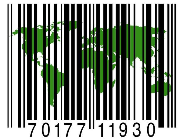 Barcode Wall Art - Photograph - Bar Code With The World Map by Victor De Schwanberg