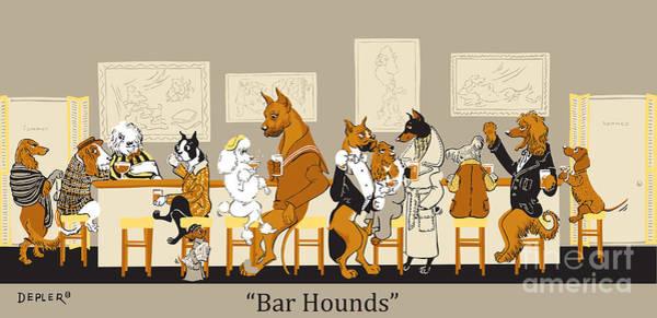 Drinking Wall Art - Mixed Media - Bar Hounds by Constance Depler