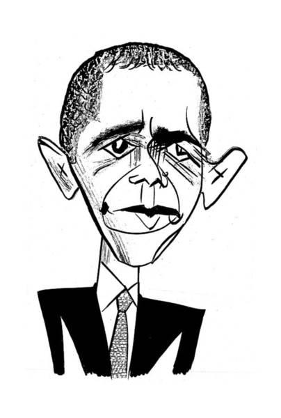 Barack Obama Drawing - Barack Obama Suit & Tie by Tom Bachtell