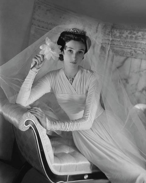 Photograph - Barbara Cushing In Her Wedding Dress by Horst P. Horst