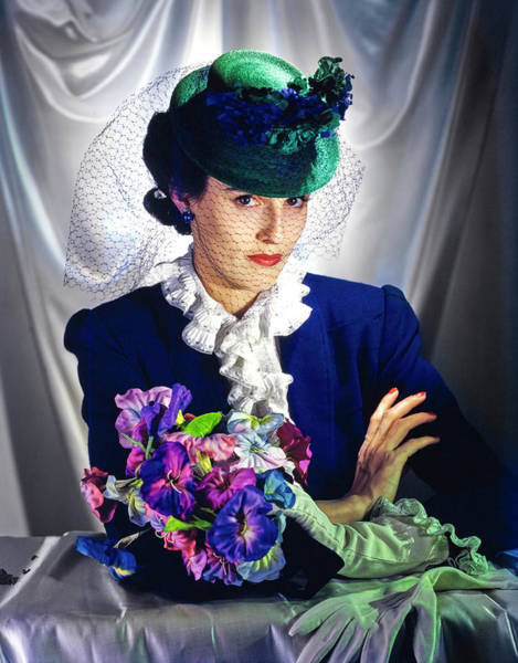 Blue Flower Photograph - Barbara Cushing Wearing A Green Hat And Veil by Toni Frissell