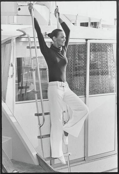 Boat Photograph - Barbara Leigh Wearing A Ban-lon Jumpsuit by Henry Clarke