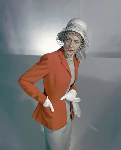 Headgear Photograph - Barbara Tullgren Wearing A Red Jacket by Horst P. Horst