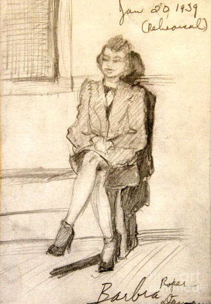 Drawing - Barbara Waiting For Rehearsal  1939 by Art By Tolpo Collection