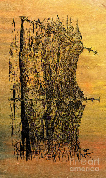 Fencepost Painting - Barbed Life by R Kyllo