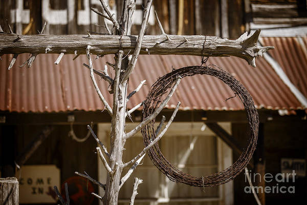 Photograph - Barbed Wire In Front Of An Old House In Color 3001.02 by M K Miller