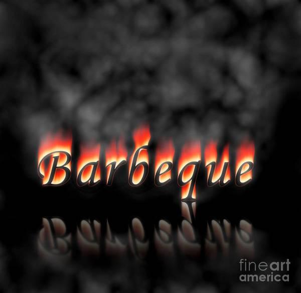 Bbq Digital Art - Barbeque Text On Fire by Henrik Lehnerer