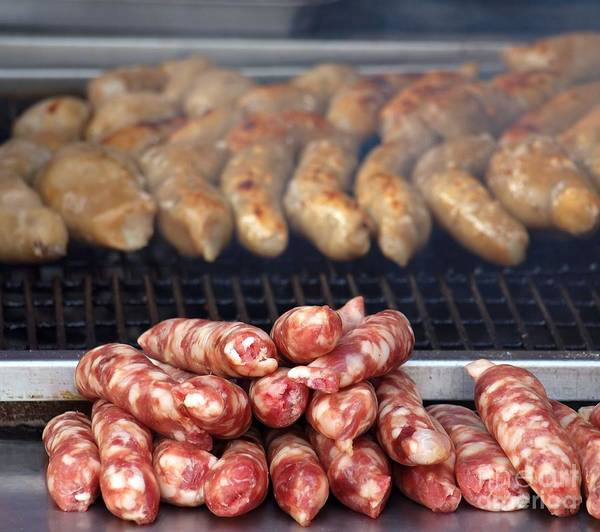 Barbeque Photograph - Barbeque With Raw And Cooked Sausages by Yali Shi