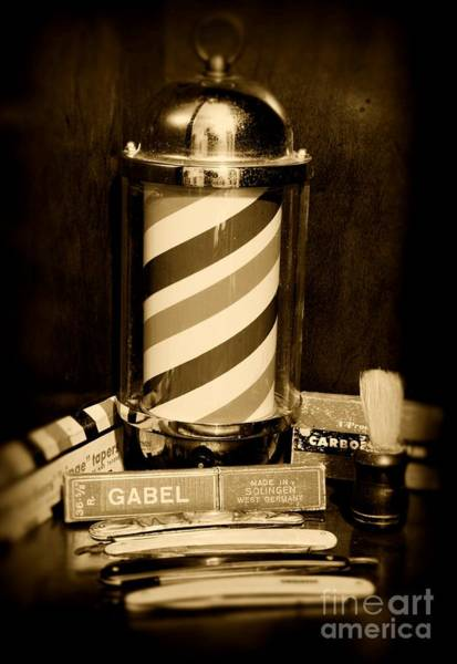 Taper Photograph - Barber - Barber Pole - Black And White by Paul Ward