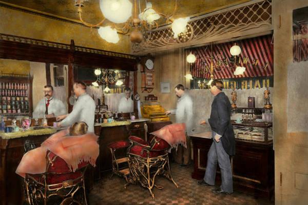 Photograph - Barber - L.c. Wiseman Barbershop Ny 1895 by Mike Savad