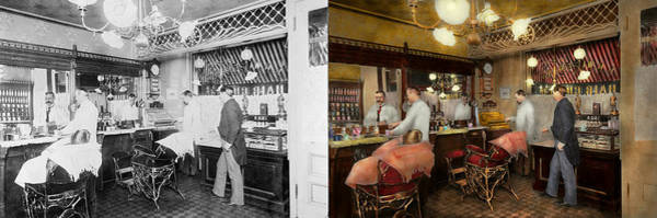 Wall Art - Photograph - Barber - L.c. Wiseman Barbershop Ny 1895 - Side By Side by Mike Savad