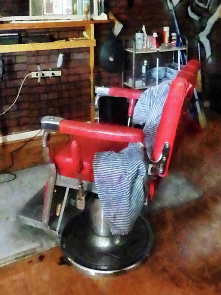 Photograph - Barber - Red Barber Chair by Susan Savad