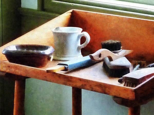 Photograph - Barber - Shaving Mug Razor And Brushes by Susan Savad