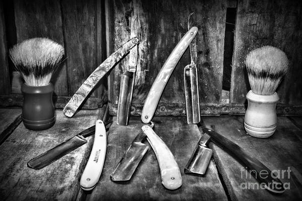 Wall Art - Photograph - Barber - The Straight Edge In Black And White by Paul Ward