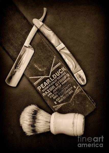 Gift Shops Photograph - Barber - Tools For A Close Shave - Black And White by Paul Ward