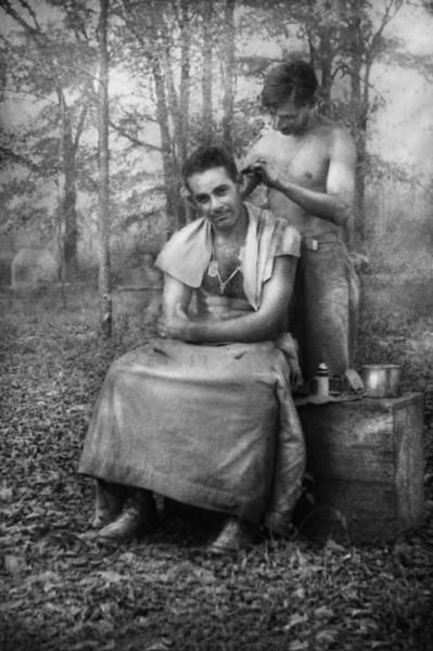 Photograph - Barber - Wwii - Gi Haircut by Mike Savad