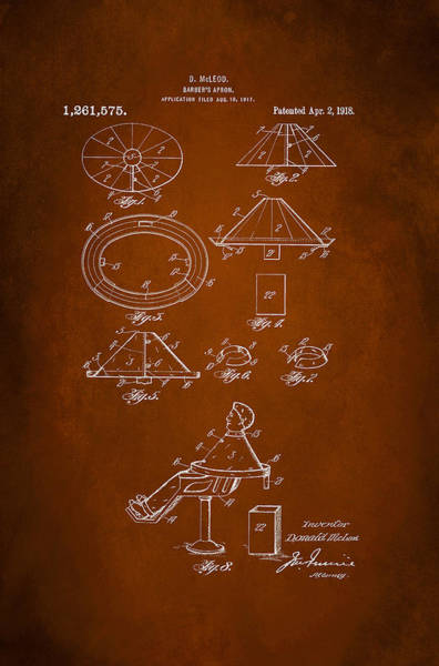 Apron Wall Art - Digital Art - Barber's Apron Patent 1918 by Patricia Lintner