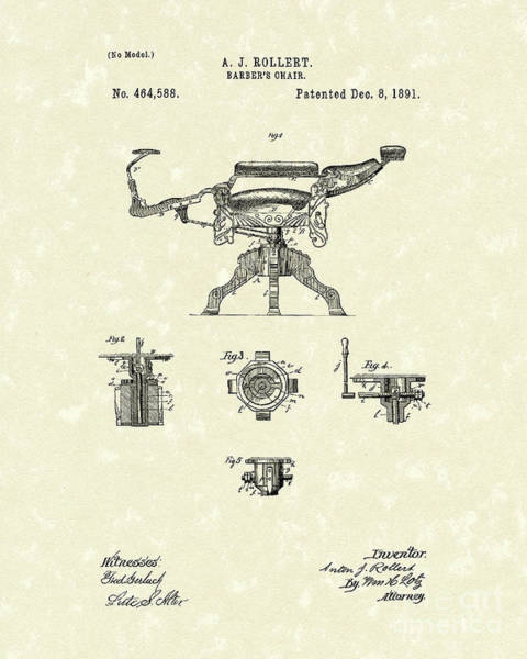 Drawing - Barber's Chair 1891 Patent Art by Prior Art Design
