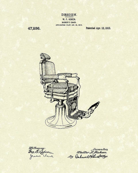 Drawing - Barber's Chair 1915 Patent Art by Prior Art Design