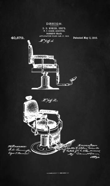 Chair Digital Art - Barber's Chair Patent 1910 by Patricia Lintner