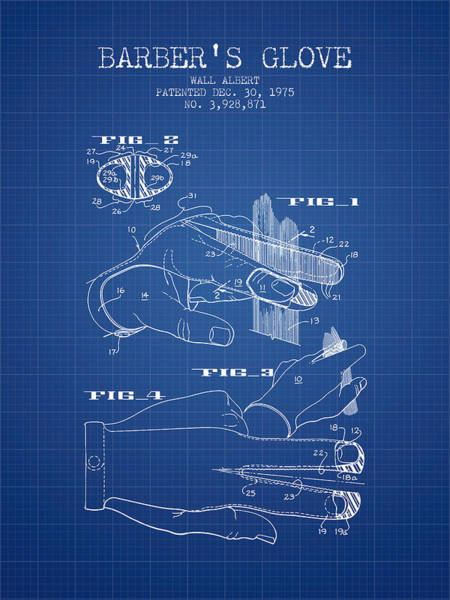 Wall Art - Digital Art - Barbers Glove Patent From 1975 - Blueprint by Aged Pixel