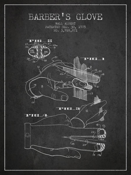 Wall Art - Digital Art - Barbers Glove Patent From 1975 - Charcoal by Aged Pixel
