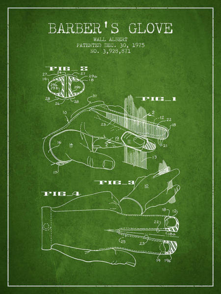Wall Art - Digital Art - Barbers Glove Patent From 1975 - Green by Aged Pixel