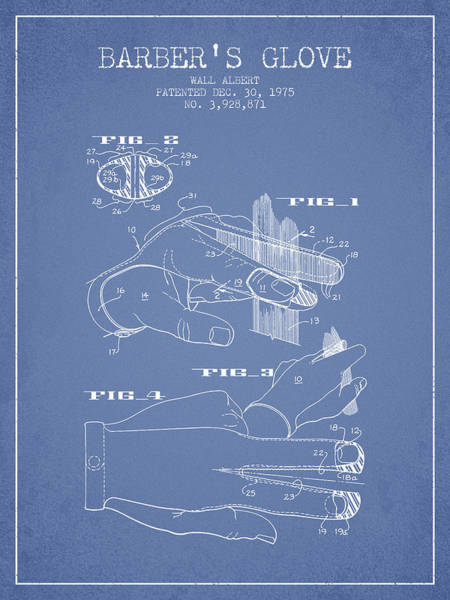 Wall Art - Digital Art - Barbers Glove Patent From 1975 - Light Blue by Aged Pixel