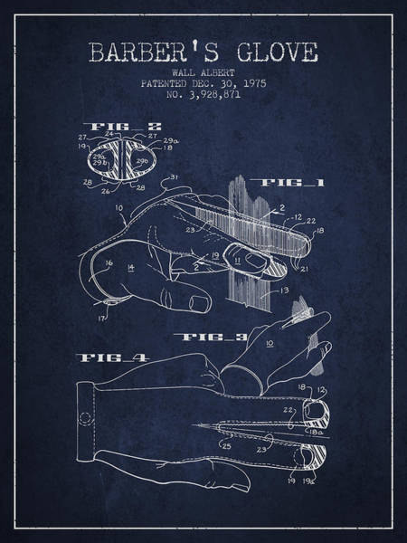 Wall Art - Digital Art - Barbers Glove Patent From 1975 - Navy Blue by Aged Pixel