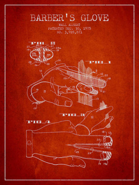 Wall Art - Digital Art - Barbers Glove Patent From 1975 - Red by Aged Pixel