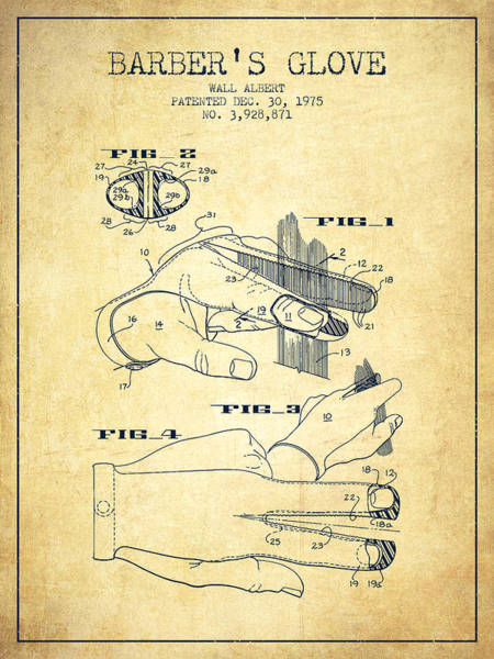 Wall Art - Digital Art - Barbers Glove Patent From 1975 - Vintage by Aged Pixel