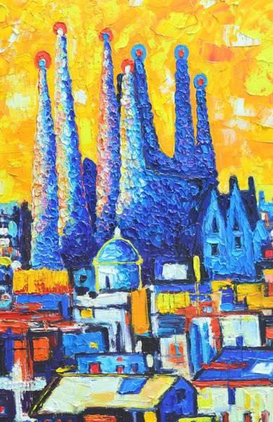 Painting - Barcelona - Abstract Sagrada Familia  by Ana Maria Edulescu